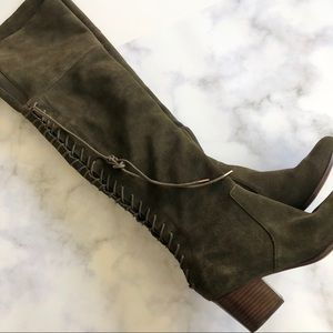 Nine West Suede Over the Knee Boots in Olive Green